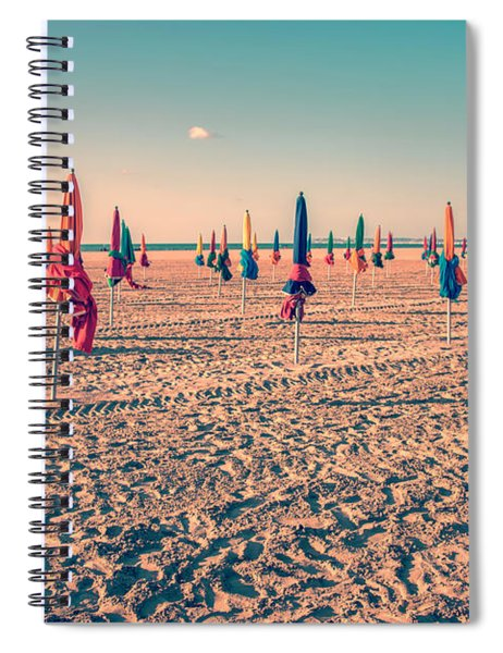 Parasols Of Deauville Spiral Notebook by Delphimages Photo Creations