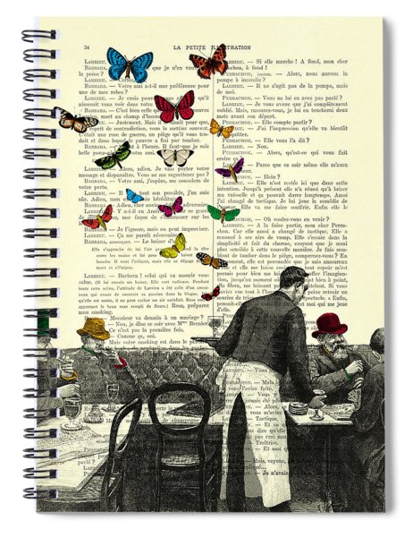 Inside Of A French Bistro At Paris And Rainbow Butterflies Spiral Notebook