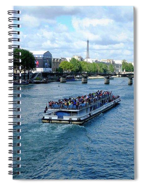Paris Boat On The Seine Spiral Notebook