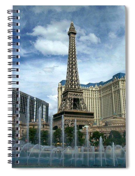 Paris Hotel And Bellagio Fountains Spiral Notebook