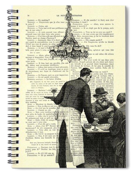 Paris Scene Black And White Spiral Notebook