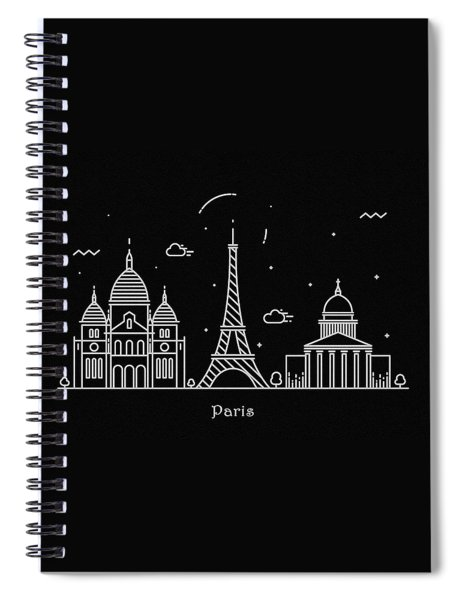 Paris Skyline Travel Poster Spiral Notebook
