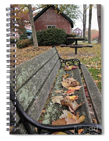 Park Bench With Maple Leaves In Autumn Spiral Notebook