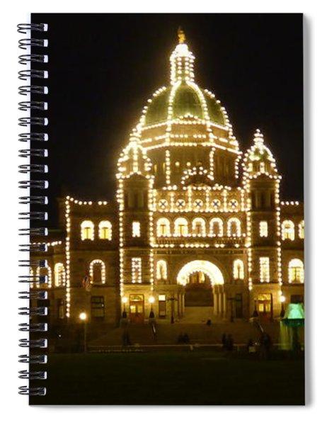 Parliament Building At Night - Victoria British Columbia Spiral Notebook