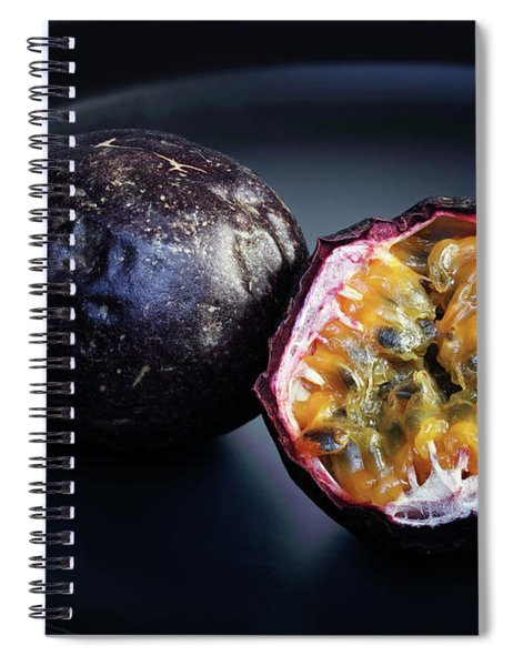 Passion Fruit On Black Plate Spiral Notebook
