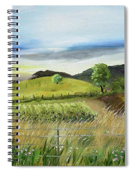 Spiral Notebook featuring the painting Pasture Love At Chateau Meichtry - Ellijay Ga by Jan Dappen