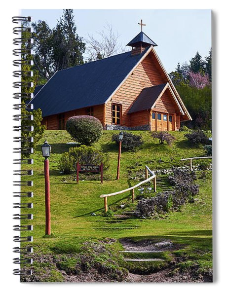 Rustic Church Surrounded By Trees In The Argentine Patagonia Spiral Notebook