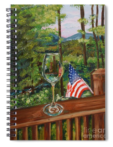 Spiral Notebook featuring the painting Star Spangled Wine - Fourth Of July - Blue Ridge Mountains by Jan Dappen