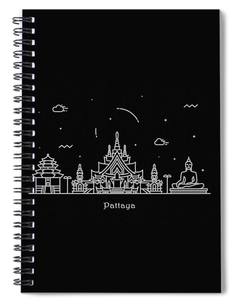 Pattaya Skyline Travel Poster Spiral Notebook