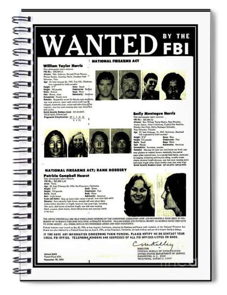 Patty Hearst Symbionese Liberation Army Wanted Poster September 1974 Spiral Notebook