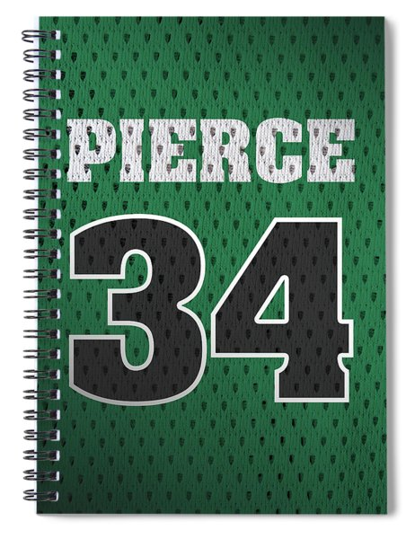 Paul Pierce Boston Celtics Number 34 Retro Vintage Jersey Closeup Graphic Design Spiral Notebook