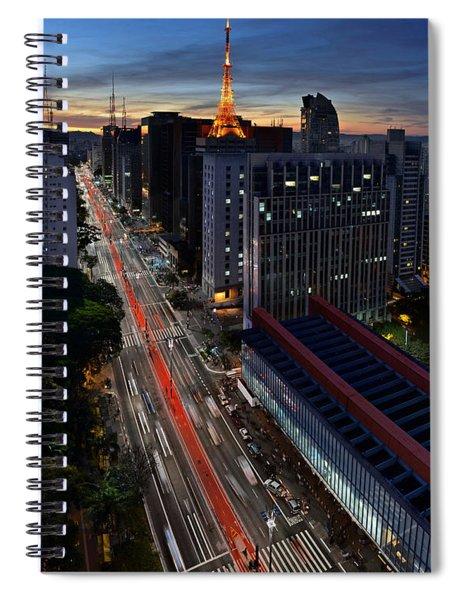 Paulista Avenue And Masp At Dusk - Sao Paulo - Brazil Spiral Notebook