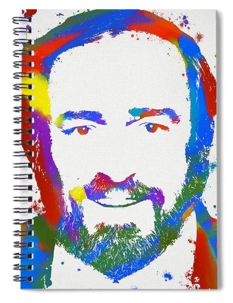 Pavarotti Colorful Paint Splatter Spiral Notebook