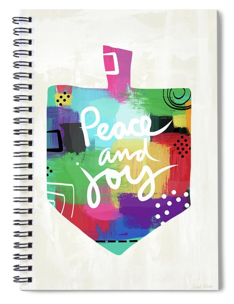 Peace And Joy Dreidel- Art By Linda Woods Spiral Notebook