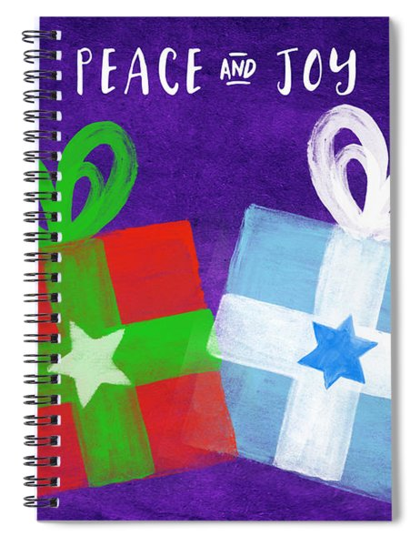 Peace And Joy- Hanukkah And Christmas Card By Linda Woods Spiral Notebook