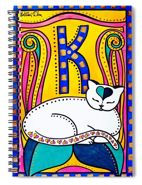 Peace And Love - Cat Art By Dora Hathazi Mendes Spiral Notebook