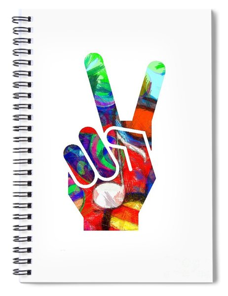 Spiral Notebook featuring the digital art Peace Hippy Paint Hand Sign by Edward Fielding