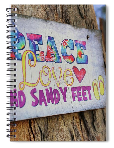Peace Love And Sandy Feet Spiral Notebook