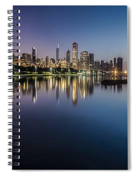 Peaceful Summer Dawn Scene On Chicago's Lakefront Spiral Notebook