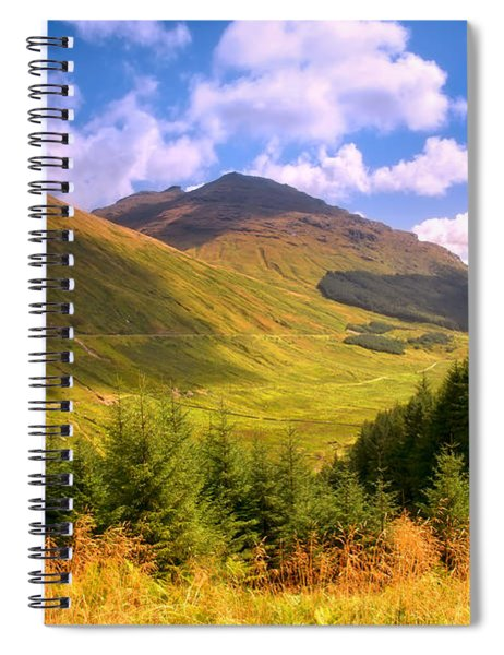Peaceful Sunny Day In Mountains. Rest And Be Thankful. Scotland Spiral Notebook