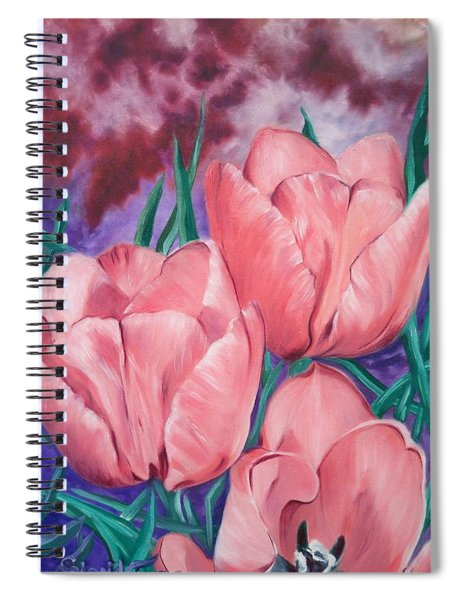 Perennially Perfect  Peach Pink Tulips Spiral Notebook