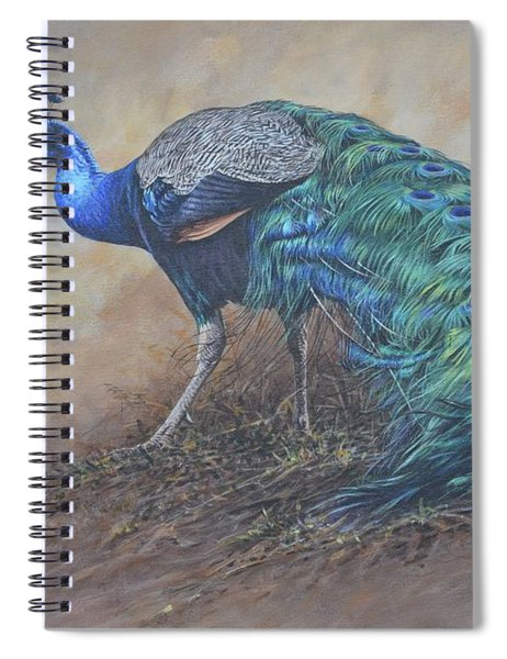 Spiral Notebook featuring the painting Peacock by Alan M Hunt