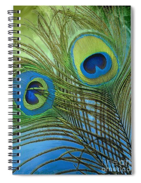 Peacock Candy Blue And Green Spiral Notebook