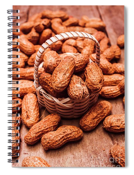 Peanuts In Tiny Basket In Close-up Spiral Notebook