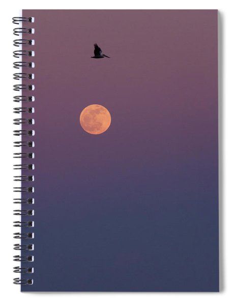 Pelican Over The Moon Spiral Notebook