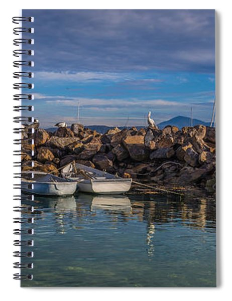 Pelicans At Eden Wharf Spiral Notebook