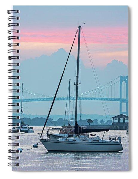 Pell Bridge Newport Harbor Newport Ri Rhode Island Purple Sunset Spiral Notebook