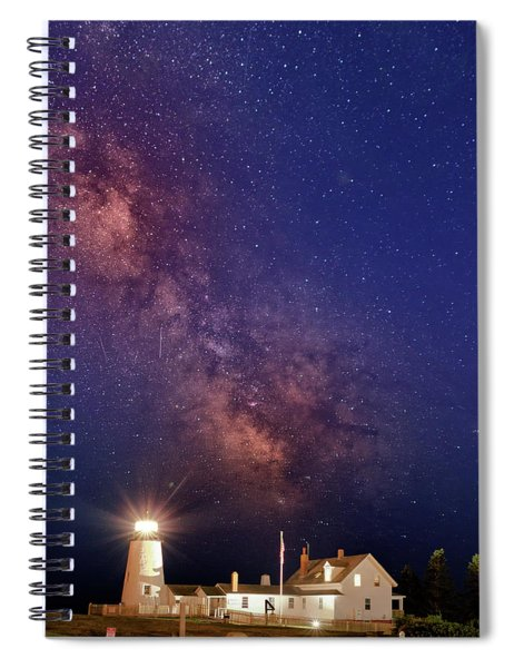 Pemaquid Point Lighthouse And The Milky Way Spiral Notebook