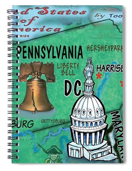 Pennsylvania Fun Map Spiral Notebook