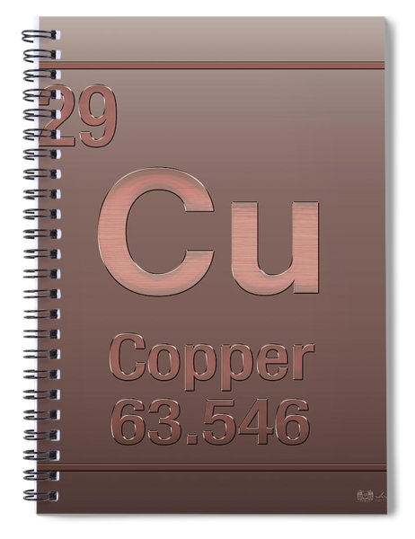 Periodic Table Of Elements - Copper - Cu - Copper On Copper Spiral Notebook