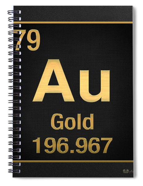 Periodic Table Of Elements - Gold - Au - Gold On Black Spiral Notebook