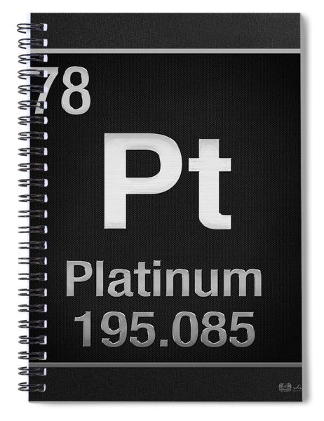 Periodic Table Of Elements - Platinum - Pt - Platinum On Black Spiral Notebook
