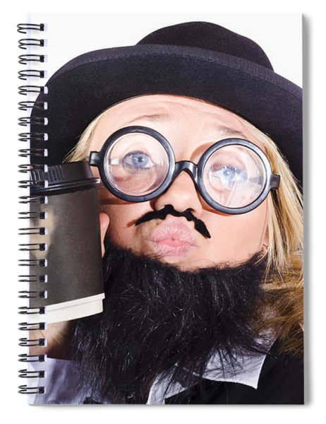 Person With Cup Of Coffee Spiral Notebook