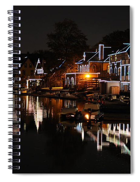 Philadelphia Boathouse Row At Night Spiral Notebook