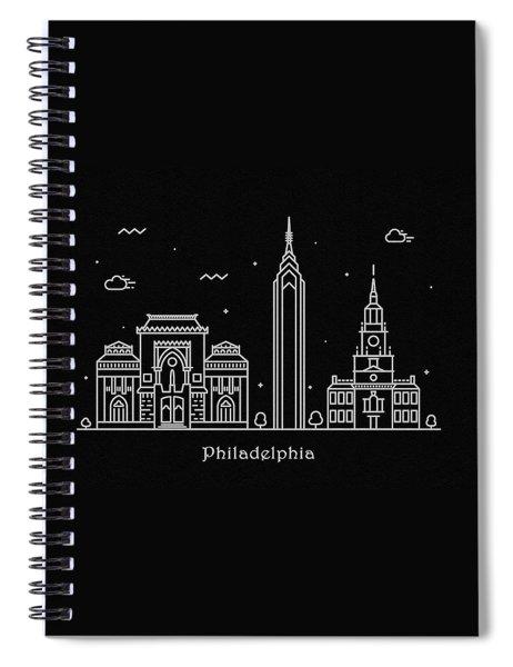 Philadelphia Skyline Travel Poster Spiral Notebook