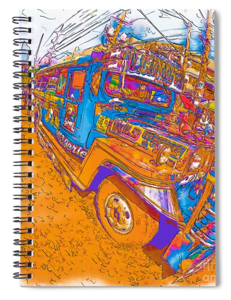 Philippine Girl Walking By A Jeepney Spiral Notebook