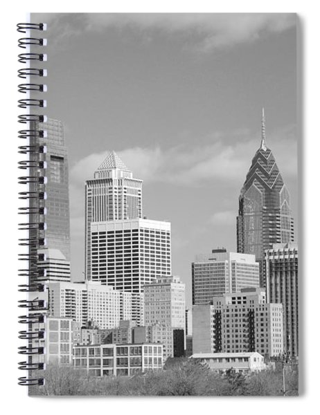 Philly Skyscrapers Black And White Spiral Notebook