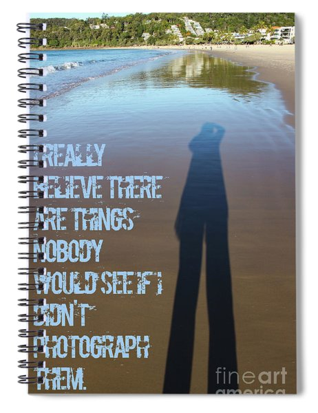 Photographers Shadow Stretches Out Impossibly Long On Wet Sand As She Takes A Picture On Noosa Head  Spiral Notebook