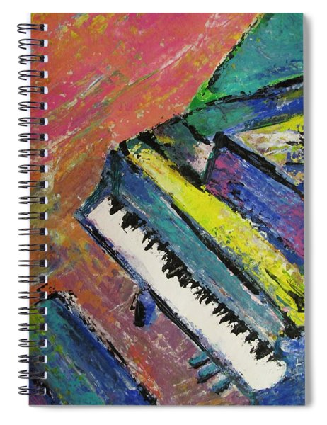 Piano With Yellow Spiral Notebook