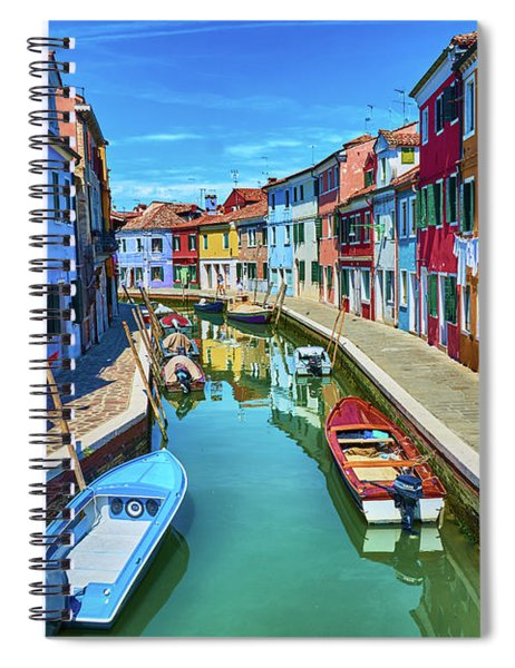 Picturesque Buildings And Boats In Burano Spiral Notebook
