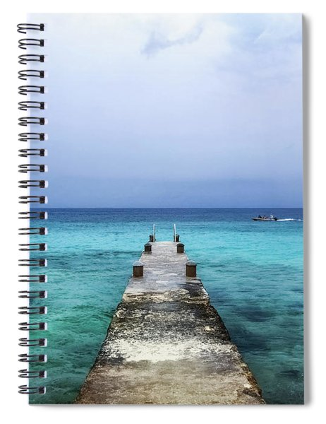 Pier On Caribbean Sea With Boat Spiral Notebook