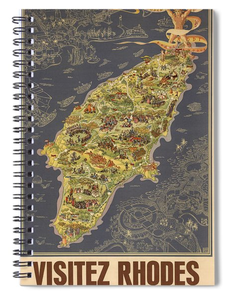 Piictorial Map Of The Island Of Rhodes - Rose Island - Island Of The Sun - Antique Map Spiral Notebook