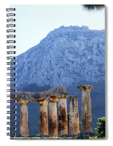 Pillars Of Temple Of Apollo In Corith, Greece, With Acrocorinth In Background Spiral Notebook