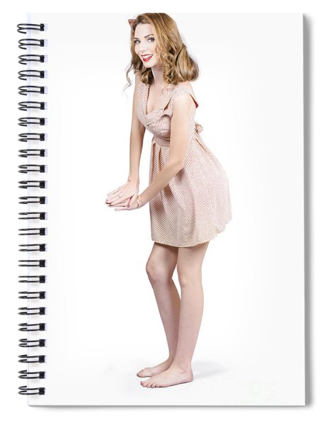 Pin Up Portrait Of A Beautiful Model Girl Spiral Notebook