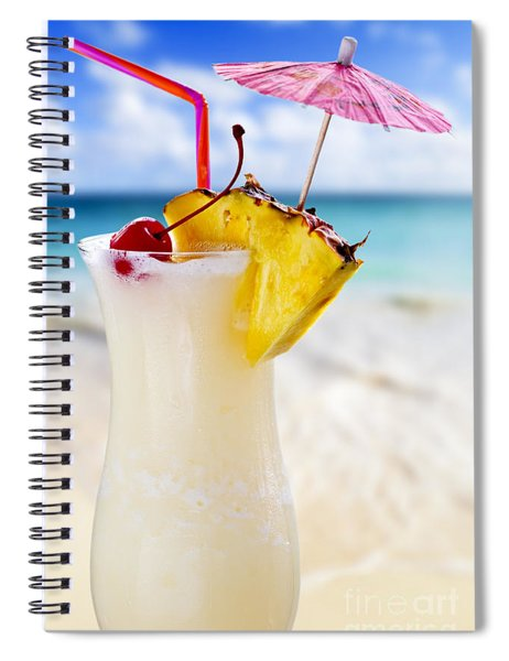 Pina Colada Cocktail On The Beach Spiral Notebook