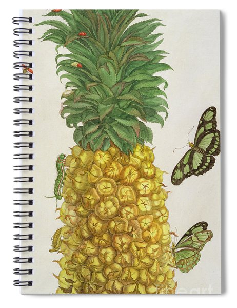 Pineapple With Caterpillar And Butterflies Spiral Notebook